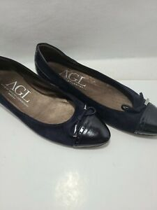 Attilio Giusti Leombruni (AGL) Vero Cuoio Blue Leather Shoes 42 Ballet Low Heel
