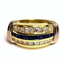 18k yellow white gold .96ct VS1 G diamond sapphire ring 13.5g ladies estate