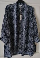 NEW❗❗❗Max Studio Navy Geo Print Kimono Peasant Blouse Boho Top M RETAIL $88.00