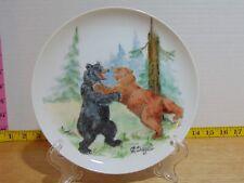 """Hand Painted Brown Bear Fighting Black Bear Plate by C. Diegel 8"""""""