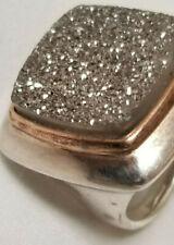 Druzy Sterling Silver Ring Vintage Milor Italy 925 Marked Estate Find (2 Tone)
