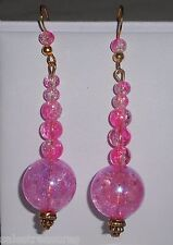 Pink Czech Crackle Art Crystals Gold Tone French Wire Dangle Earrings 2 3/4""