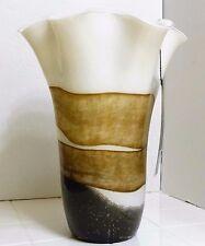 Captivating Polish Art Glass Vase Artisanally Crafted Flowing Brown White Black