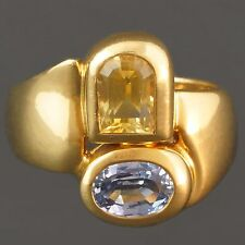 Fancy Solid 18K Gold Manfredi Citrine & Blue Topaz Estate Ring