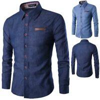 Men's long sleeve t-shirt stylish dress shirt floral casual slim fit formal