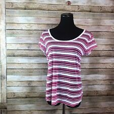 Wallflower Shirt Extra Large XL Juniors Pink White Striped Top Short Sleeve