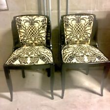 Pair of Art Deco Black Lacquer Chairs circa 1930s. Graceful Curved Back & Legs