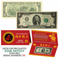 STAR NOTE Lunar 2020 Year of the RAT Lucky Money $2 US Bill w/ Red Folder S/N 88