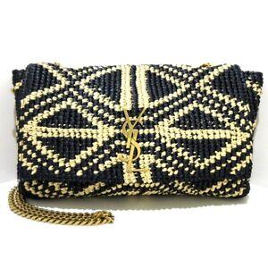 Auth SAINT LAURENT PARIS Kate Reversible 580065 Black Beige Raffia Suede Bag