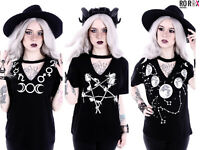 Restyle Occult Wicca Moon Witchcraft Rose Pentagram Loose Choker Top Tee T-shirt