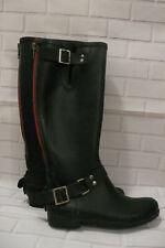 Steve Madden Black Tsunami Rain Boots Zipper Size 7 Red Zipper