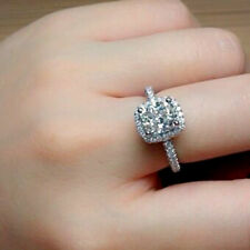 3.50 CT Diamond Cushion Cut Engagement Halo Ring Solid 925 Sterling Silver