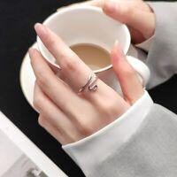 Sterling Silber 925 Silberring Schlange Tier Glatt Ring Verstellbar Offen Damenr