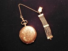 Antique Hampden Gold Filled Hunter Case Pocket Watch w/ Chain & Fob*WORKS
