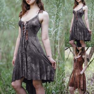 Medieval Vintage Costume Hooded Irregular Dress Cosplay Victorian Casual Dresses