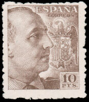Spain 1940 10p ITALIAN BROWN WITHOUT IMPRINT MNH #705 CV$330.00