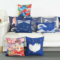 "18"" Cotton Linen Sea Mew Pattern Cushion Cover Waist Throw Pillow Case Sofa Home"