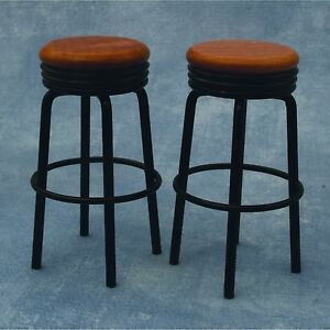 DOLLS HOUSE 1/12th SCALE PAIR OF  BAR STOOLS IN BLACK AND PINE