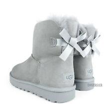 UGG Bailey Bow Mini II Seal Grey Suede Fur Boots Womens Size 10 *NIB~