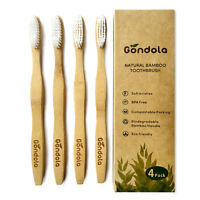 Natural Bamboo Toothbrush Pack Of 4 Adult Size Eco Friendly BPA FREE by Gondola