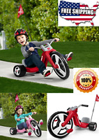"""Kids Big Flyer Sport Chopper Tricycle 16"""" Front Wheel Adjustable Seat Toy Red"""