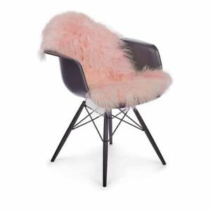 Pink FUR RUGS MONGOLIAN THROW TIBETAN LAMBSKIN FUR CHAIR PELT CURLY fluf CARPET