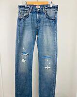 Vintage Men's Levi's 501 Straight Cut Ripped Distressed Blue Jeans W33 L36