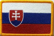 SLOVAKIA Flag Patch With VELCRO® Brand Fastener  Military Gold Emblem