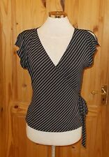 WAREHOUSE black white stretch crossover wrap vneck tunic top cold shoulder 12 40