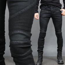 Men's Super Slim Fit Black Wax Coated Seaming Bikers Skinny Jeans 015, GENTLER