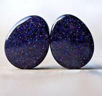"Pair of Teardrop Blue Goldstone Plugs / Gauges 10 sizes 2g 0g 00g 1/2""  - 1 """