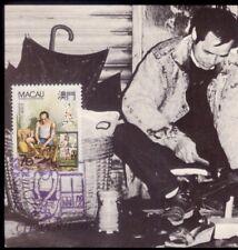 Itinerant Shoe Maker Macau. Original Postcard maxi card maximum Stamp Cancel