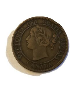 1858 Canada Large Cent Queen Victoria 1 Cent Coin