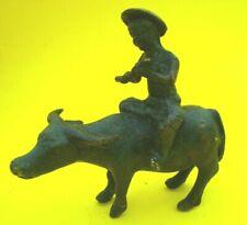 """Chinese Bronze Boy Riding Ox / Buffalo Playing Flute ~4"""""""