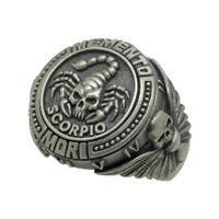 Signo Acuario Cráneo Biker masónica MENS anillo de plata esterlina Memento Mori Zodiac