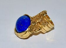 As New Yves Saint-Laurent YSL Gold Natural Turquoise Arty Ring Fits Sz J/5 Mint