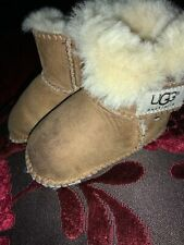 UGG ERIN CHESTNUT TAN BROWN FUR LINED BOOTS - INFANTS Small 6-12 Months Postage