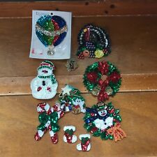 Large Lot of Sequin Christmas Wreath Snowman Tree Thanksgiving Turkey Hot Air