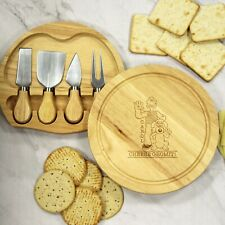 Personalised Wallace & Gromit 'Cheese Gromit' Round Cheese Board and Knives