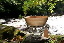 Mango Wood Serving Bowl with Aluminium Seahorse Stand, handmade Fruit Bowl