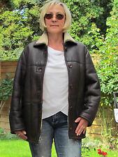 WOMEN L XL Shearling Lambskin Sheepskin Fur Leather Coat Jacket D2986