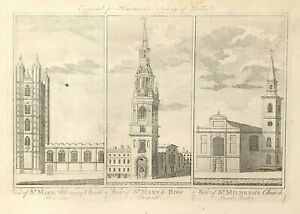 c1775 Historic Churches Bow Lane, Cheapside, Bread Street from Harrison's London