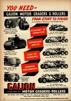 1951 Galion Iron Works Print Advertisement: All Models Motor Graders & Rollers