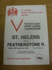 28/09/1980 Rugby League Programme: St Helens v Featherstone Rovers  (team change