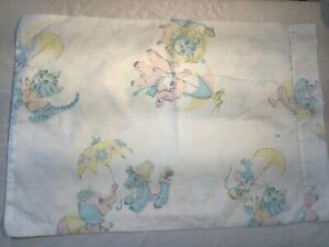 Baby animals Vintage pillow Slip case Small rectangle 100% cotton travel 60s