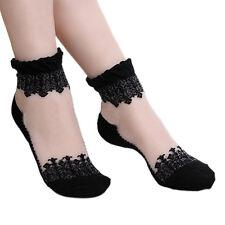 Women Ultrathin Clear Black Lace Flower Silk Socks Soft Comfort Short Stockings