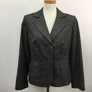 Ann Taylor Women's Blazer Size 8 Black Gray Wool Blend