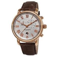 Akribos XXIV AK841RG Swiss Quartz Chronograph Leather Strap Mens Watch