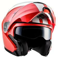 MOTO F19 RACING RED Motorrad-Helm Klapp-Helm Modular Integral-Helm Sonnenblende