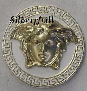 Taler Kopf Medusa Relief Wandrelief Wandbild Bild Stuck Mäander Wand Gold Crem